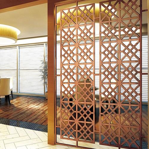 酒店雕花不锈钢屏风案例